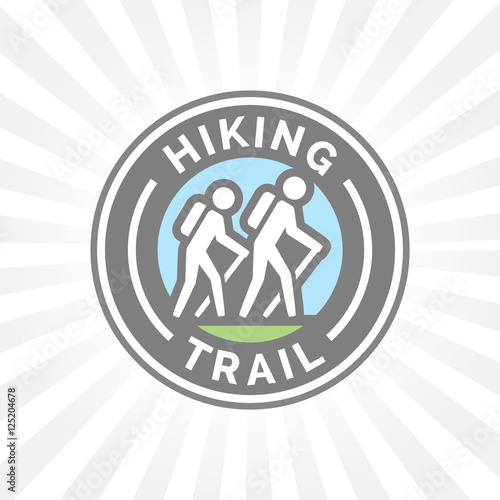 quotoutdoor hiking trail symbol with hikers icon vector