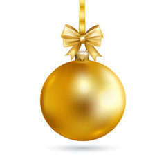 Gold Christmas ball with bow. Holiday christmas toy for fir tree.