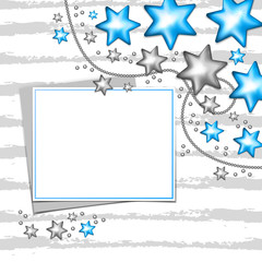 Paper frame on Christmas blue and silver stars decorations background. Vector illustration.