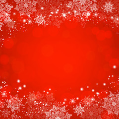 Red Christmas snowflakes bokeh background. Vector illustration.