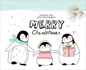 Hand drawn christmas card with penguin family
