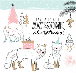 Hand drawn christmas card with cute little foxes