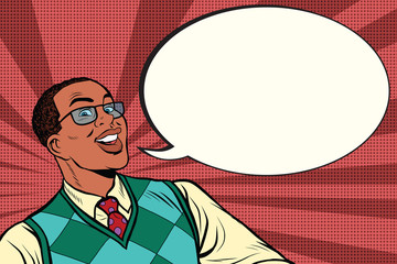 Intelligent African with glasses says comic bubble