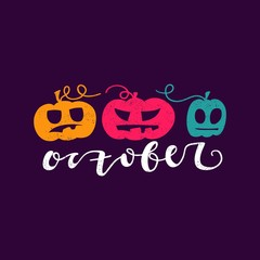 Bright vector illustration, poster, postcard for Happy Halloween. Modern and stylish hand drawn lettering. Quote. Hand-painted inscription. Banner or background for holiday. Multicolored pumpkins.
