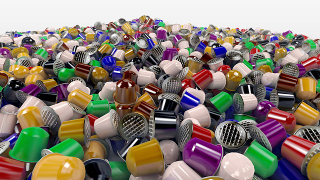 Garbage of coffee capsules