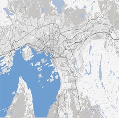 Map of Oslo city. Norway Roads