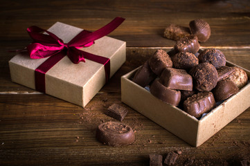 Chocolate candies in a gift box