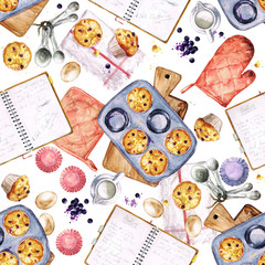 Baking Muffins. Watercolor seamless pattern.