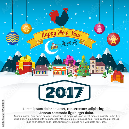 merry christmas and happy new year flat banner christmas winter landscape santa claus