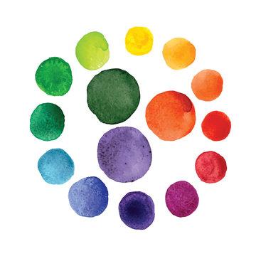 Handmade watercolor texture colorful paint drops color wheel
