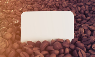 Business card in coffee beans, toned