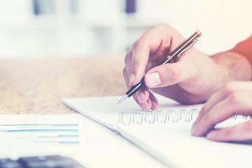 Accounting process closeup, toned