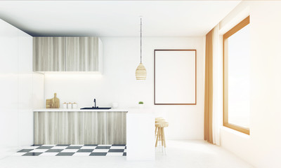 Modern white kitchen with wooden lamp, toned