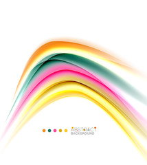 Multicolored lines on white, motion concept abstract background