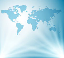 light blue vector background with map of world