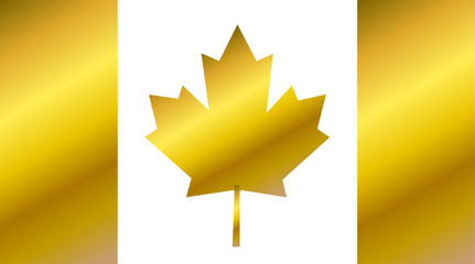 Canada flag, flag of Canada gold vector