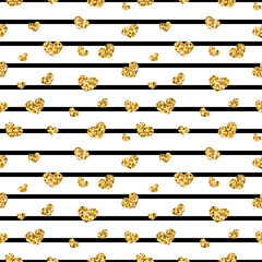 Golden hearts stripes seamless pattern. Gold glitter and black template. Abstract texture. Retro Valentine day design for card, wallpaper, wrapping, textile, fabric etc. Vector Illustration