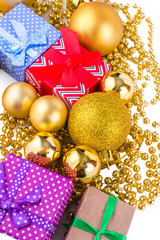 New Year's toys and ornaments on white background