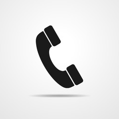 Black handset icon. Vector illustration.