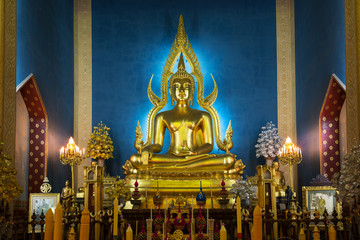 Principle Buddha image in a temple .Buddhism temple,Thailand