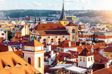 Cityscape view on the old town with saint Giles church in Prague