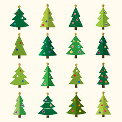Christmas tree cartoon icons set. Green silhouette decoration trees signs, isolated on white background. Flat design. Symbol of holiday, winter, Christmas celebration, New Year Vector illustration
