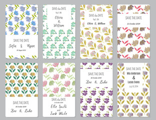 Vector Set of card templates. Perfect for Save The Date, baby shower, mothers day, valentines day, birthday cards, invitations.
