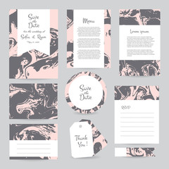 Vector gentle wedding cards template with hipster ethno design. Wedding invitation or save the date, RSVP, menu and thank you card for bridal design. Vector set of postcard with geometric decoration.