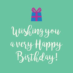 Cute green teal Happy Birthday greeting card