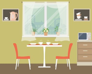 Kitchen vector illustration. There is a table, two orange chairs, shelves, microwave, a window with flowers and other objects in the picture