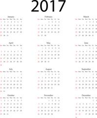 Calendario 2017 Inglese festività Italia