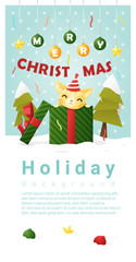 Merry Christmas Greeting banner with cat inside gift box , vector , illustration