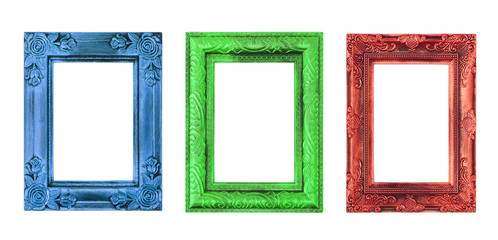 The antique color frame on the white background
