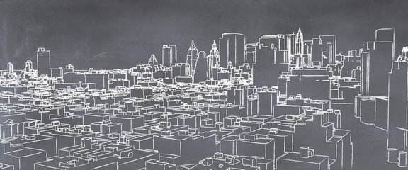 illustration of a city painted on a blackboard