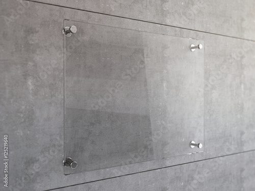 Quot Mock Up Of Transparent Glass Signboard With Steel