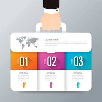Business suitcase infographic design vector and marketing icons.