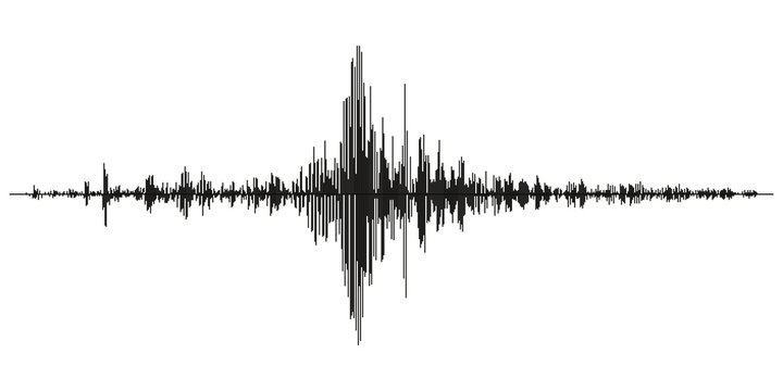 Seismogram of different seismic activity record vector illustration, earthquake wave on paper fixing, stereo audio wave diagram background. seismic tremors sign. Earthquake seismic activity