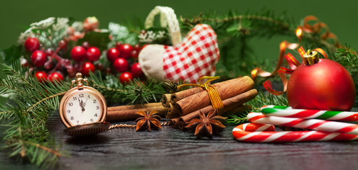 Clock and Christmas items
