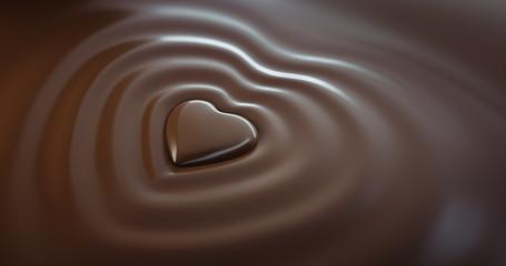 Schokoladen-Herz mit Wellen