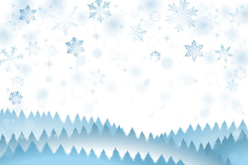 Winter background with falling snowflakes and pine trees