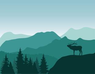 vector mountain deer