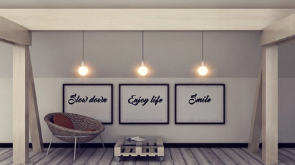 Inspiration motivation quote slow down, enjoy life, smile. Mindfulness , Life, Happiness concept. Posters in frame Scandinavian style home interior decoration. 3D render
