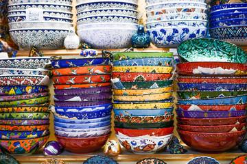 Different type of ceramic tableware in the Bazaar