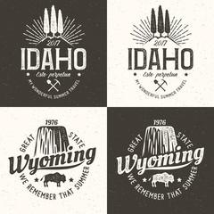 United States of America. Idaho vintage logo. Wyoming retro hipster emblem. Vector illustration.