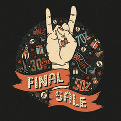 Final sale vintage retro poster with a heavy metal hand gesture, heavy metal and small decorative elements. Vector illustration.