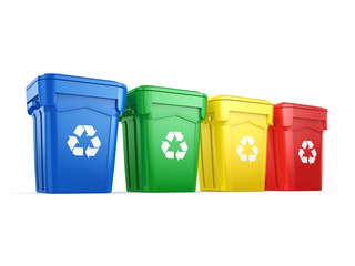 3D rendering Multicolor Recycling Bins