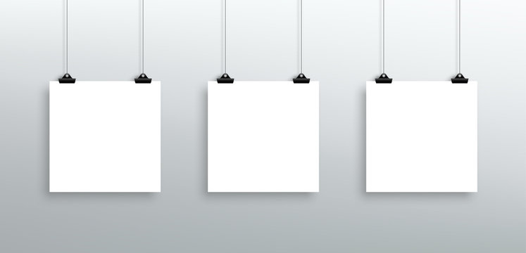 3 Vector Hanging Blank White Square Sheets From Clips