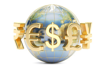 Globe with currency symbols, 3D rendering
