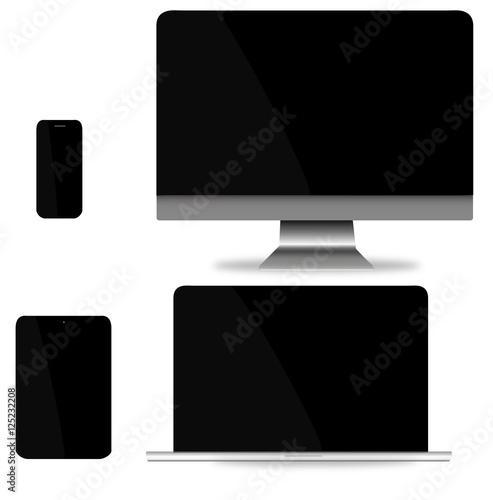 informatique internet ordinateur bureau ordinateur portable tablette mobile stock. Black Bedroom Furniture Sets. Home Design Ideas