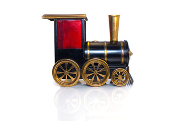 Toy Old train isolated on white background